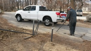 Gary Johnson bending air pipe.